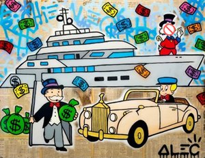 Wholesale painting rolls resale online - Alec Monopoly YACHT ROLLS Home Decor Handpainted HD Print Oil Painting On Canvas Wall Art Canvas Pictures