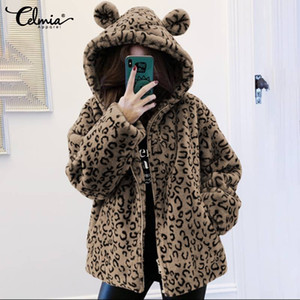 Wholesale Women Hooded Cute Teddy Coats Celmia Winter Warm Jackets Long Sleeve Outerwear Zip Casual Leopard Plush Overcoat Plus Size