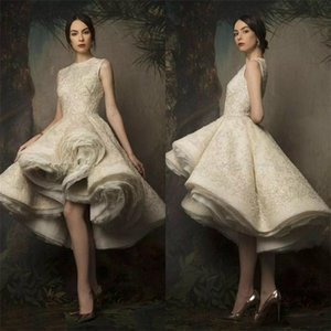Krikor Jabotian High Low Evening Dresses Short 2019 Sleeveless Tea Length Lace Ruched Puffy Ball Gown Prom Gowns With Sequins Pearls Beaded on Sale