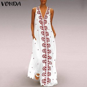 Wholesale VONDA Women Vintage Floral Print Maxi Long Party Dress Sexy V Neck Sleeveless White Casual Loose Summer Beach Dresses Plus Size