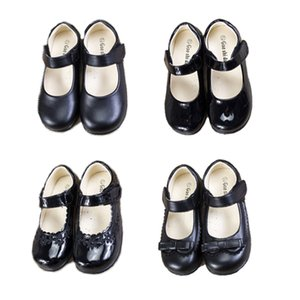 Wholesale Kids Girls Wedding Leather Shoes 5+ Matte Round Toe Butterfly Bow Girls Rubber Shoes Dance Peform Solid Shoes Party Casual Footwear 5-14T