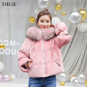 Wholesale 2019 New Winter Coat Jacket with Fur Collar with Hood Slim Warm Thick Short Jacket for Women Casaco Coats Women Winter Parkas