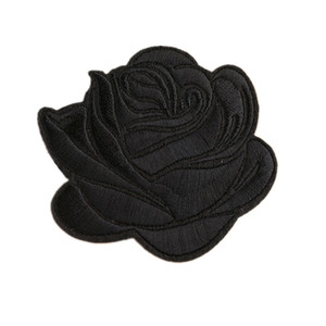 Wholesale Embroidery Patches Sew Iron On Flower Black Rose Patch Embroidered Badges For Bag Jeans Hat T Shirt DIY Appliques Craft Decoration