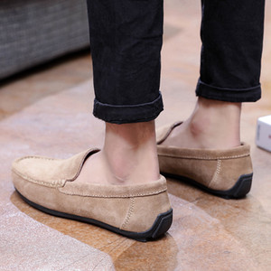Designer brand men's casual flat shoes leather shoes leather pull-on metal buckle men's suit shoes Zapatillas on Sale
