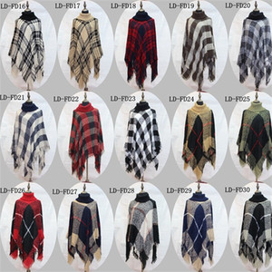 Wholesale Square Soft Sweater Lattice Coat Loose Big Size High Collar Loop Yarn Cloak Scarf Conjoined Clothing Multi Style ymH1