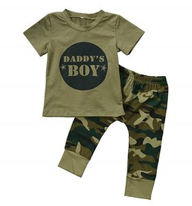 Wholesale Designer Baby Clothe Organic Cotton Baby Boy Girl Camouflage Short Sleeve T Shirt Tops Green Long Pants Outfit Casual Outfit