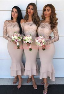 Stunning Sheath Long Sleeve Lace Bridesmaid Dresses Sheer Cheap Maid Of Honor Dress Wedding Guest Evening Party Gowns Formal Prom Dress on Sale