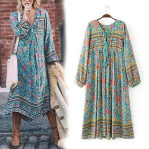 Wholesale Vintage s hippie india floral print boho Ethnic Bib Festival midi Dress S L