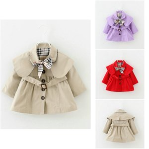 Wholesale Baby Girls Coat Trench Spring Autumn Tops Kids Trench Jacket Outerwear Coat Children Clothing Long Sleeve Trenches