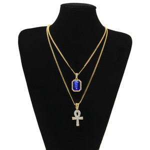 2018 Fashion Mens Cross Set Design Mens Jewelry Exquisite Hip -Hop Gem Pendant With Diamond Key Mini Square Gemstone Necklace Sets