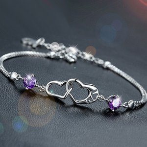 Wholesale gift for the sale of silver bracelets the love of the new fashion standard pure silver chain Gemstone Bracelet