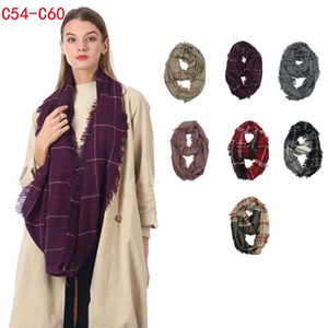 Wholesale infinity scarfs resale online - Plaid Infinity Scarf Colors cm Winter Grid Check Ring Scarf Outdoor Warm Loop Wraps Neckwear LJJO7152