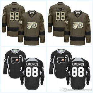 Wholesale #88 Eric Lindros Hockey Philadelphia Flyers Jersey Army Green Black Jerrseys All Stiched Free Shipping Size S To 3XL