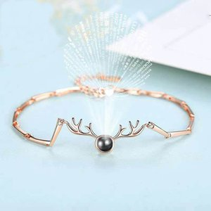 Wholesale 100 Languages I Love You Bracelet Stainless Steel Projection Deer Bracelets Gold Silver Charm Chain Jewelry Valentine s Day Gifts GGA2719