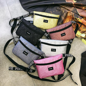 Wholesale Glitter Pink letter Waist Bag LOVE PINK Shiny Sequin Fanny Pack PACKS bling women girls Waterproof Crossbody Shoulder Beach Bags belt trave