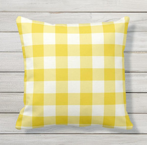 Wholesale Pillow case Lemon Yellow Outdoor Pillows Case Gingham Pattern Car cushion pillow cover In In In