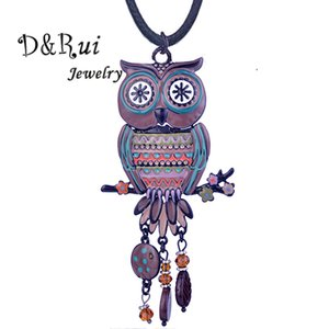 Wholesale D Rui Jewelry High Quality Brand Colorful Enamel Owl Pendant New Trendy Crystal Big Pendants Necklace Black Rope Chain for Women