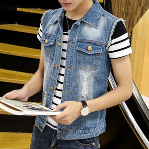 2019 Spring and Summer New Street Denim Vest Men's Casual Fashion Trend Hole Slim Cotton Pure Color Vest Jacket