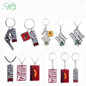 RJ 20Pcs Game Red Dead Redemption 2 Keychains GTA 5 Grand Theft Auto 5 Letter Logo Pendants Choker Men Car Keyring Fans Jewelry