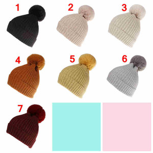 Wholesale Fashion wool knitted cap solid Pure color stripe super large imitation fur rabbit wool ball caps women lady girls winter warm crochet cap