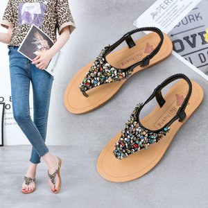Wholesale xiniu Woman Sandals Women Shoes Rhinestones Thong Gladiator Flat Sandals Elastic Sequins Waterproof Platform