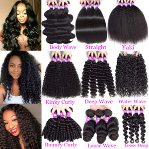 Wholesale hair extensions resale online - 9A Brazilian Human Hair Bundles Virgin Hair Bundles Body Wave Straight Loose Deep Water Kinky Curly Remy Hair Extensions Weft