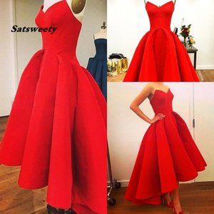 Vestidos New Sweetheart A-Line Puffy Satin Red Hi Lo Summer Myriam Fares Party Prom Dresses Hot 2020 Gorgeous Evening Gowns on Sale