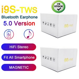 Wholesale I9S Tws Earphone Headphone With pop up window Stereo TWS Earbuds for IOS Android Phone With Charging Box Wireless Bluetooth Headphone