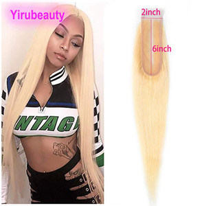 Wholesale blonde peruvian closure resale online - Peruvian Human Hair Straight Virgin Hair Blonde Lace Closure X6 Size Baby Hair Middle Part Color