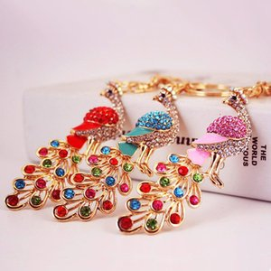 Wholesale Newest Colorful Rhinestone Crystal Alloy Peacock Keychain Ladies Bag Accessories Key Chain Pendant
