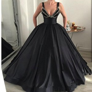 2019 Modern Evening Dresses Deep V-Neck Ball Gowns Floor Length Plus Size Formal Party Evening Gowns Loose Special Occasion Dresses Vestidos on Sale