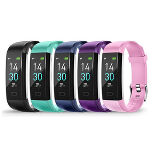IP68 Waterproof Watch 0.96IN Touch Screen Wireless Smart Bracelet Heart Rate Purple Silver base