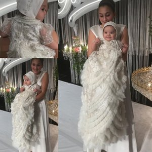Wholesale Crystal 2020 Christening Baptism Gowns For Baby Girls Beads Appliqued Tiered Ruffles With Bonnet Flower Girls First Communication FDress
