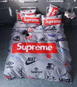 Branded Cotton Bedding Sets 4pcs Soft Bed Linings Duvet Cover Household Bed Sheet Pillowcases Cover Set Queen Size
