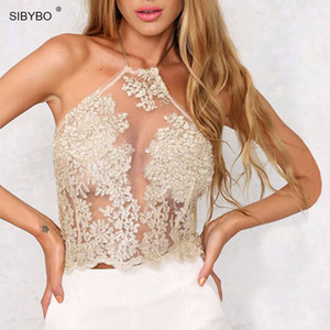 Wholesale Summer Women Lace Crop Tops Elegant White Black Backless Sexy Mesh Cami Spaghetti Strap Short Halter Beach Cropped Tank Top C19041901