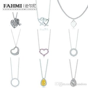Wholesale FAHMI Charm Sterling Silver Love Twinkle Teardrop Inlay Zircon Sun Necklace Original Women s Fashion Jewelry Memorial Day TIF