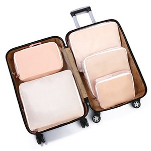 Wholesale 5Pcs Compression Travel Polyester Storage Bag Set Luggage Packing Cosmetic Foldable Suitcase Lightweight Clothes Organiser