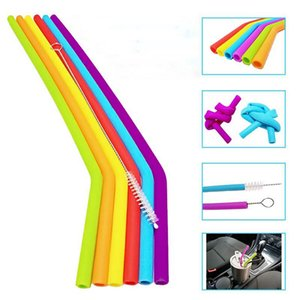 News Reusable Silicone Straws Food Grade 30oz 20oz Tumbler Silicone Straws Drinking With Cleaning Brush Party Straws Drinking Tools ZZA1109