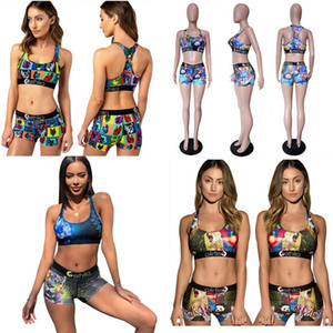 Women Cartoon Swimwear Beach Tankinis Animal Color Block Swimsuit Sexy Push Up Bra Vest Shorts 2 Piecs Bikini Set C6304