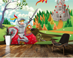 Wholesale Custom children s wallpaper Brave Knight Castle and Dragon D cartoon photos for children s bedroom boy girl room wall wallpaper