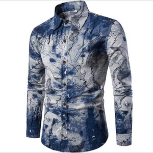 Wholesale 5XL Men shirt Floral printing long sleeve shirts men clothes flowers printed shirts vintage Linen Casual Men Shirt 2018 new Spring