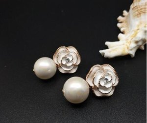 Women Earring Real Rose Gold Anti-Allergy Pearl Pendant Earring Female Party Earring Fine Pearl Jewelry