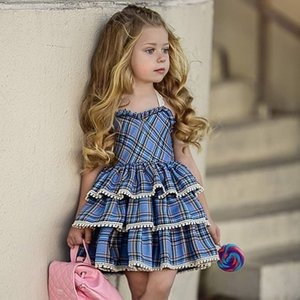 Wholesale 2019 European and American girls lace suspender cake skirt dress baby red plaid sweet cute fluffy cake dress