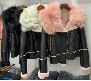 Wholesale women faux leather jacket short coat with real big fox fur collar fur lined suede bomber cropped jacket motorbiker pink black