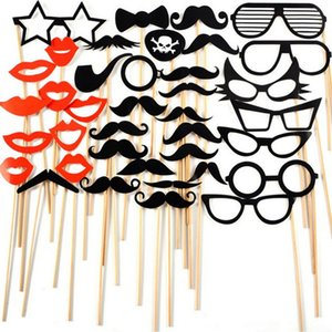 Wholesale set Set Fun Booth Props Glasses Mustache Lip Wedding Party Decoration Birthday Christmas New Year Event Favors