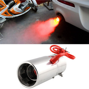 car universal modification Red Light Flaming Stainless Steel Muffler Tip Spitfire Car LED Exhaust Pipe Exhaust System on Sale