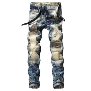 Wholesale men's leather pants for sale - Group buy 2020 New Fashion Men s Motorcycle Pants Split Leather Hole Men s pants Blue Small Straight Jeans More Size