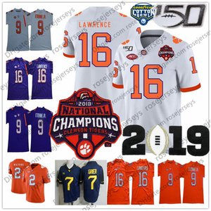 Wholesale 2019 Clemson Tigers 16 Trevor Lawrence Champions Jersey 9 Travis Etienne Jr. 2 Sammy Watkins 7 Will Grier Purple White Orange NCAA 150TH