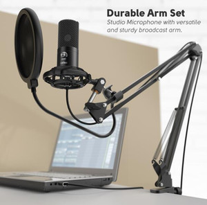 Wholesale stand for microphone resale online - Studio Condenser USB Computer Microphone Kit With Adjustable Scissor Arm Stand Shock Mount for YouTube Voice Overs