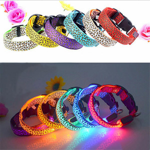 Wholesale free led dog collar for sale - Group buy LED pet dog glow collar leopard flashing cat collar colors nylon neck glow training pet supplies dog collar